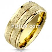Gold IP Sandblasted Center with Groove and Stepped Edge Stainless Steel Ring