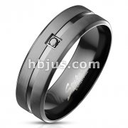 Black CZ on Matte Black Center with Shiny Groove Stainless Steel Ring with Beveled Edges