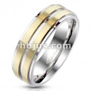 Gold IP Center with Steel Groove and Stepped Edge Stainless Steel Ring