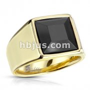 Faceted Square Onyx Stone Gold PVD Stainless Steel Ring