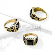 Faceted Square Onyx Stone with Masonic Emblem Sides Gold PVD Stainless Steel Ring