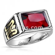 Faceted Rectangular Red Stone with Gold Sides Stainless Steel Ring