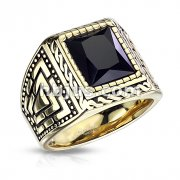 Faceted Square Onyx Stone Surrounded by Rope Gold PVD Stainless Steel Ring