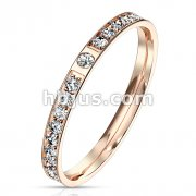 CZ Paved Rose Gold Stainless Steel Eternity Ring