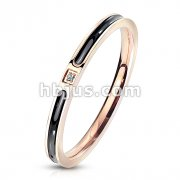 CZ on Black Enamel Filled Center Rose Gold Stainless Steel Band Ring
