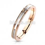Mother of Pearl Inlaid Center Rose Gold Stainless Steel Band Rings
