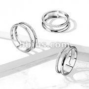 CZ Paved Line Double Stainless Steel Ring