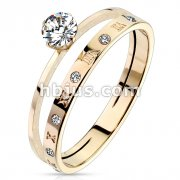 Prong Set Round CZ and CZ Paved with Roman Numerals Double Rose Gold Stainless Steel Ring