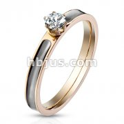 CZ Prong set on Black Enamel Filled Center Rose Gold Stainless Steel Band Ring