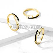 Coiled Roman Numerals CZ Set and Black Enamel Ends Gold IP Stainless Steel Ring