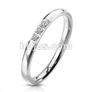 CNC Machine Set Triple CZ Center Stainless Steel Band Ring