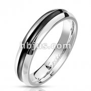 Black Center Stainless Steel Band Ring