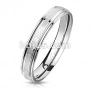 Brushed Center with Roman Numerals Stainless Steel Ring with Stepped Edges