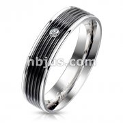 Bezel Set CZ on Black PVD Grooved Center Stainless Steel Ring