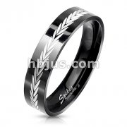 Dia-Cut Arrows Center Black PVD Stainless Steel Ring