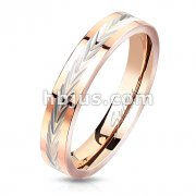 Dia-Cut Arrows Center Rose Gold Stainless Steel Ring