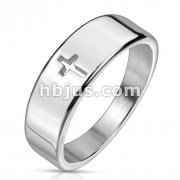 Plain Cross Cut Out Stainless Steel Ring