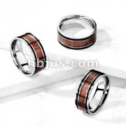 Wood Inlaid Center with Black Lines Stainless Steel Ring