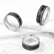 Black Carbon Fiber Inlaid Center with Black Lines Stainless Steel Ring
