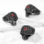 Beaded Skull with Red Gem Center Flower Forehead Stainless Steel Ring