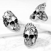Skull with Floral Filigree Head and Skulls Side Stainless Steel Ring