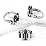 Five Bullet Cartridges Stainless Steel Ring