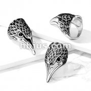 Black CZ Eyes Eagle Stainless Steel Ring