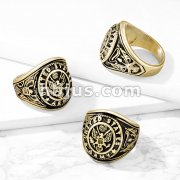 US Army Seal with Eagle and US Army Flag Sides Gold IP Stainless Steel Ring
