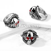 Chained Red Gem Eyes Skull Stainless Steel Ring