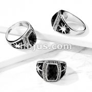 Black Faceted Stone with Sun Burst Sides Stainless Steel Ring