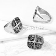 Compass Rose Cross Center Stainless Steel Ring