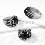 Claws Set Black Stone Winged Stainless Steel Ring