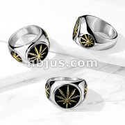 Gold Pot Leaf on Black Circle Stainless Steel Ring