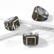 Black CZ Paved Gold Square Stainless Steel Ring