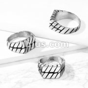 Squared Flat Top Chained Stainless Steel Ring