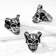 Demon Skull with Ram Horns and Celtic Cross Sides Stainless Steel Ring