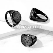 Matte Compass Rose Black IP Stainless Steel Ring