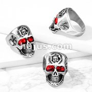 Skull with Red Gem Eyes and Tribal Face Forehead Stainless Steel Ring