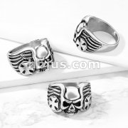 Skull with Iron Cross and Wing Sides Stainless Steel Ring