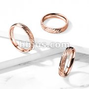 Diagonal Deep Cuts Dome Band Rose Gold IP Stainless Steel Ring
