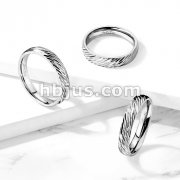 Diagonal Deep Cuts Dome Band Stainless Steel Ring