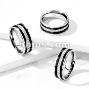 CNC Machine Set CZ Lined Center and Black IP Lines Stainless Steel Eternity CZ Ring