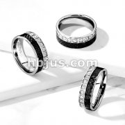 CNC Machine Set CZ Aroundand Black Carbon Fiber Inlay Stainless Steel Ring