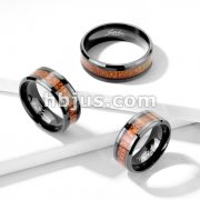 Wood Inlay Center Beveled Edges Black IP Stainless Steel Rings