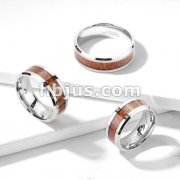 Wood Inlay Center Beveled Edges Stainless Steel Rings