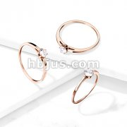 Rose Gold Wedding Band With Prong Set CZ Stainless Steel Ring