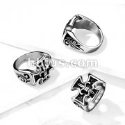 Iron Cross And Fleur De Lis With Carved Tribal Wave Sides Stainless Steel Ring