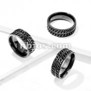 Black IP Double Chain Stainless Steel Spinner Ring