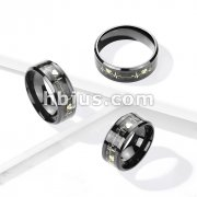 Gold Heart Beat Inlaid Center Black PVD Over 316L Stainless SteelBand Rings
