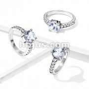 Round Prong Set CZ with 10 CZ Paved Sides Stainless Steel Engagement Ring